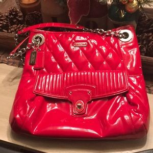 Red Patton leather coach purse